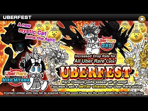 Battle Cats - 100 ROLLS FOR MIKO MITAMA ON UBERFEST - YouTube