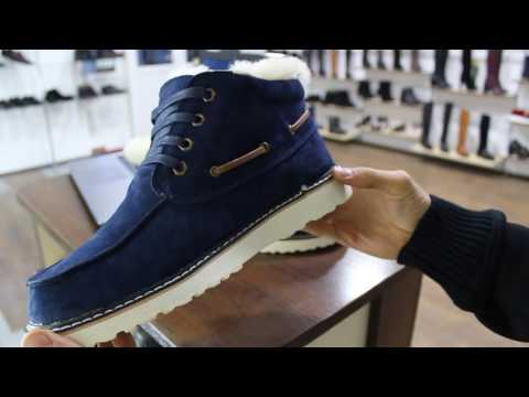Ботинки мужские на меху СИНИЙ НУБУК в стиле UGG на шнурках + МЕХ