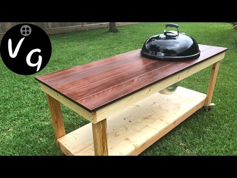 "How to build a 22"" Weber Kettle BBQ Cart DIY BBQ Table"