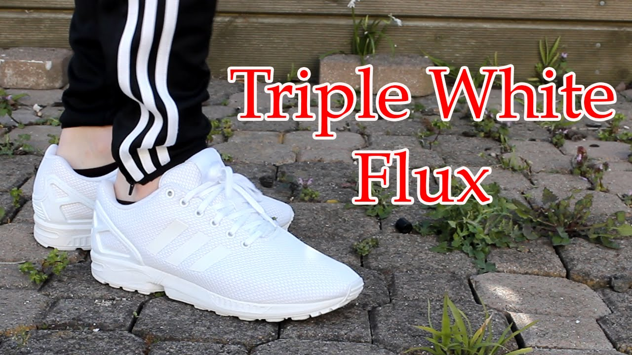 meet ba3fc 2121a Adidas | Triple White ZX Flux | Close up & On feet with different bottoms!