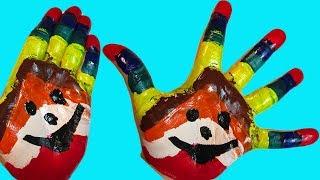 Учим цвета Развивающая Песня про пальчики Семья пальчиков Рисуем Пальчиковые краски Гуашь для детей