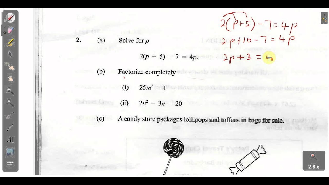 CSEC CXC Maths Past Paper 2 Question 2a January 2013 Exam