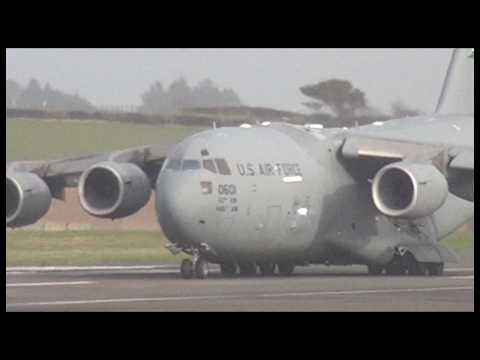 USAF C-17 Globemaster Landing & Departing Prestwick, 13/03/17