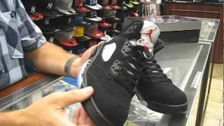 Nike Air Jordan Retro 5 Black, Metallic Silver, Varsity Red - at Street Gear, Hempstead NY