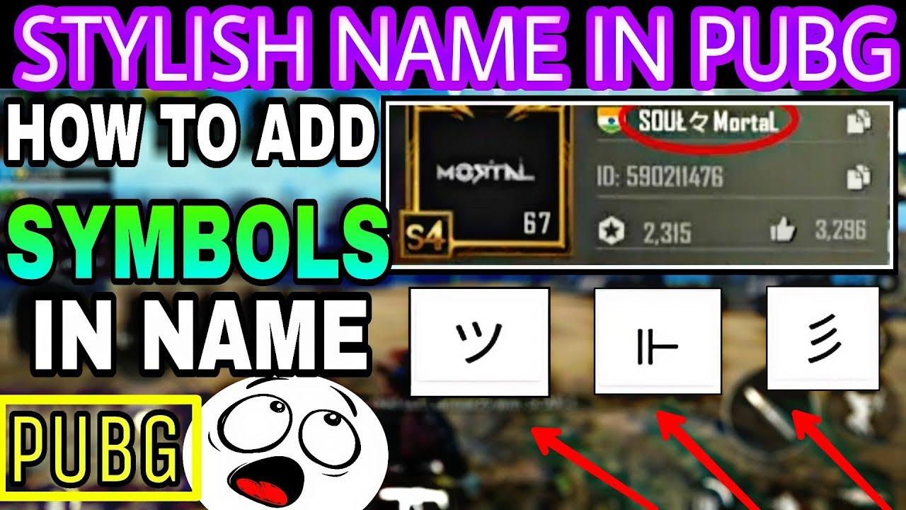 Pubg Mobile Name Symbol List