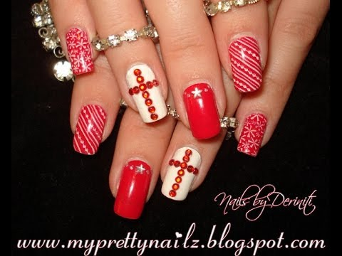 Merry Christmas Nail Art Stamping And Rhinestone Cross Tutorial