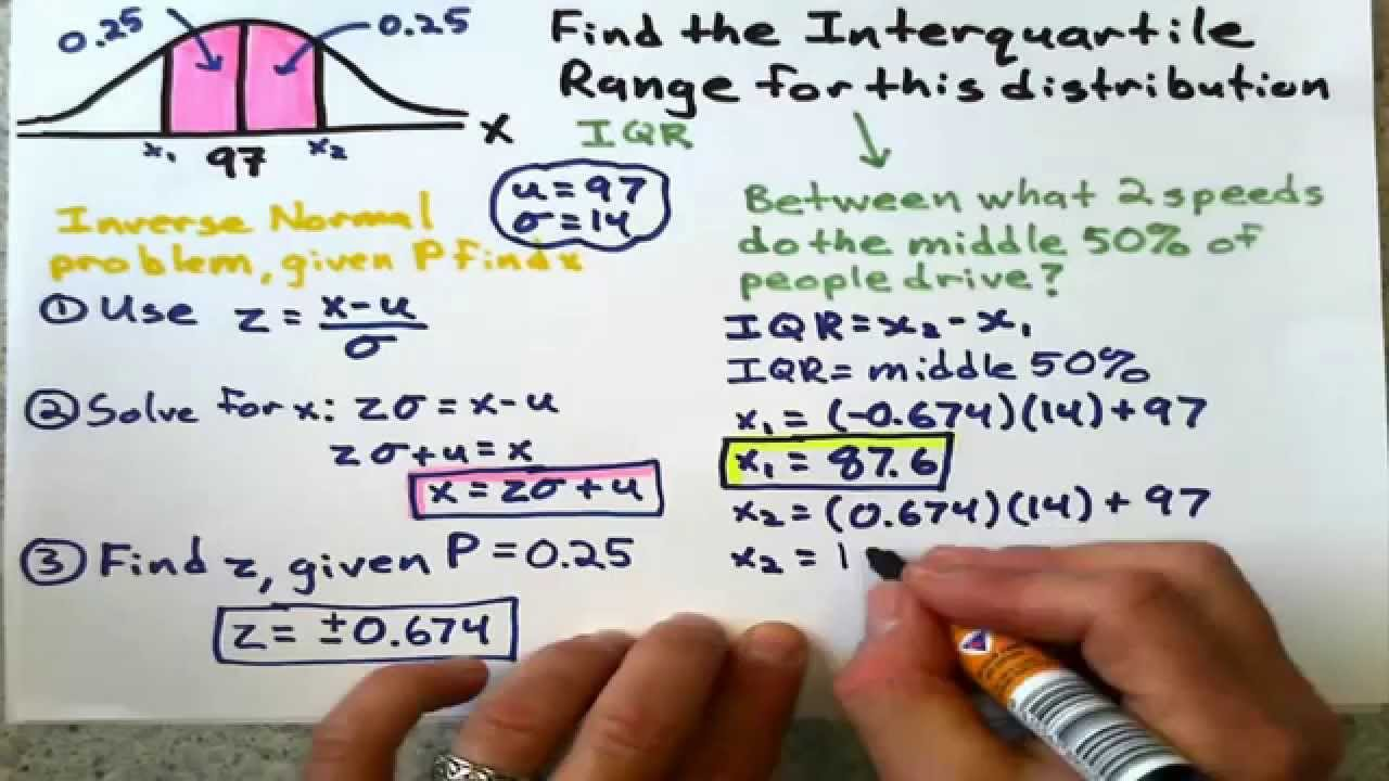 Finding interquartile range using normal distribution youtube ccuart Images