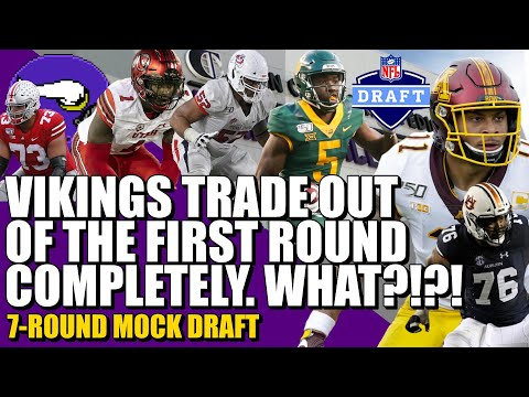 Vikings Trade Out Of The 1st Round COMPLETELY?!?! | 7-Round Mock Draft! 😱😱😱