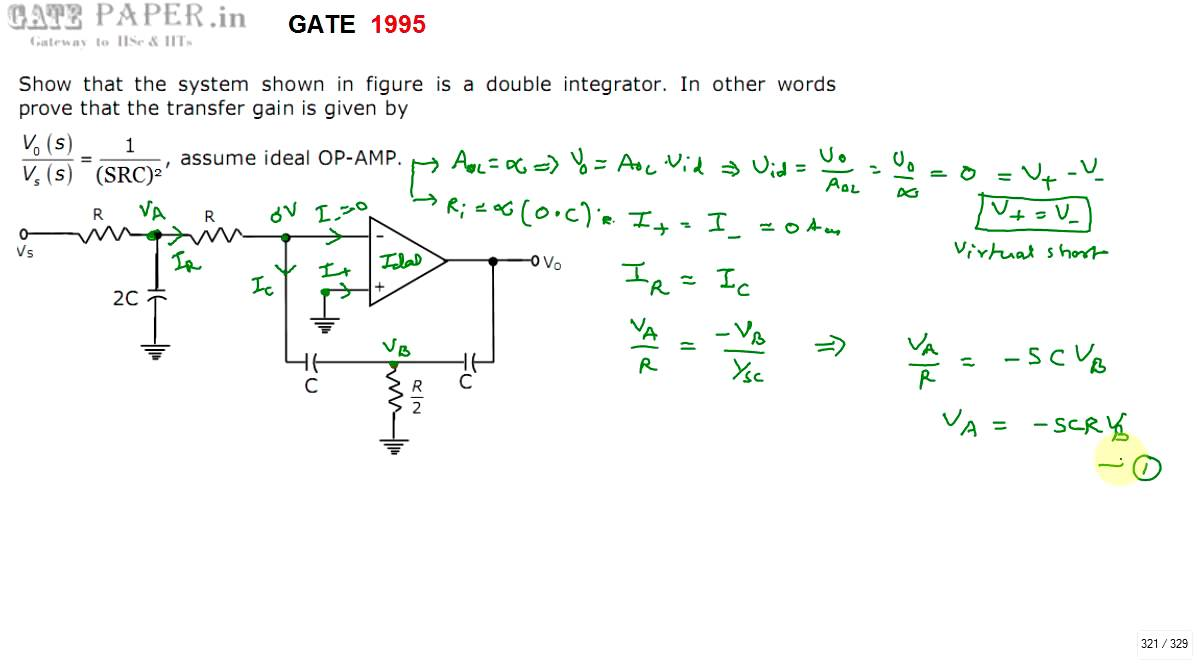 Gate 1995 Ece Double Integrator Using Operational Amplifier Youtube