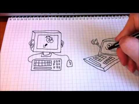 Простые рисунки #88 Компьютер и ноутбук.