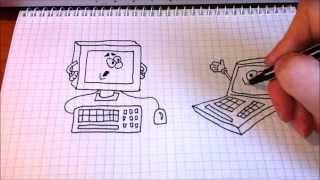 Простые рисунки #88 Компьютер и ноутбук.(Как нарисовать простой рисунок обычной гелевой ручкой за несколько минут. Спасибо, что смотрите мои видео...., 2014-04-28T16:46:34.000Z)