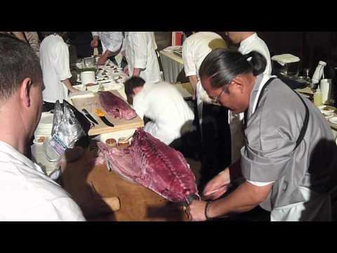 Chef Morimoto Butchering a 200 Pound Maguro