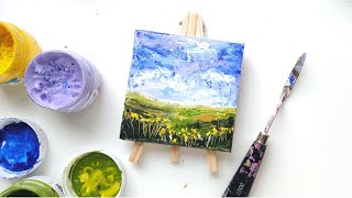 Acrylic knife painting | Easy Landscape for Beginners | Mini Canvas Series
