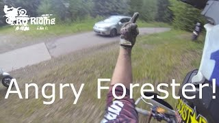 angry forester tries to hit us   raw   rd riding