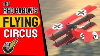 Seven full size Fokker Dr.1 triplane replicas take to the air durin...
