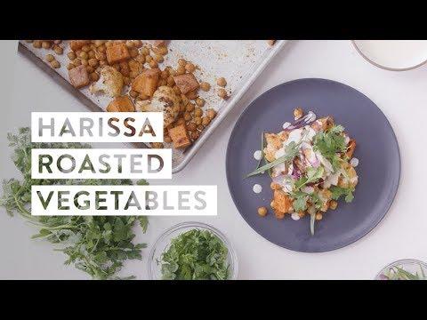 Harissa Roasted Vegetables and Chickpeas with Tahini Yogurt Recipe | goop