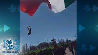 Soldado se enreda al izar bandera y cae desde la altura