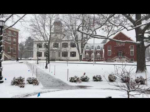 December snow on UNE's Portland Campus