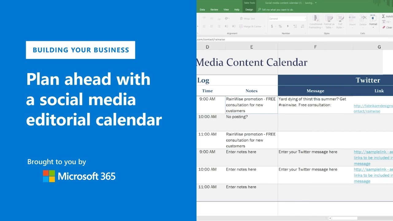Plan ahead with a social media editorial calendar using Microsoft Excel