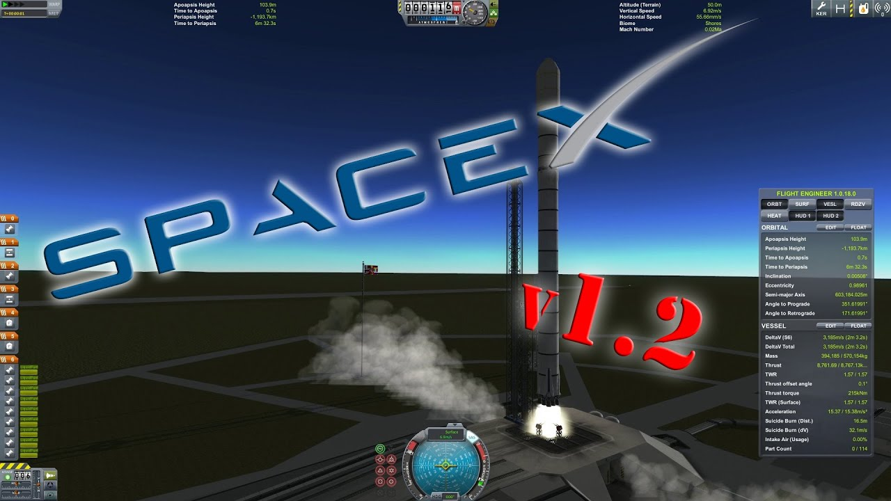 spacex falcon 9 v1 2 in kerbal space program 2x scale kerbin landing at ksc youtube
