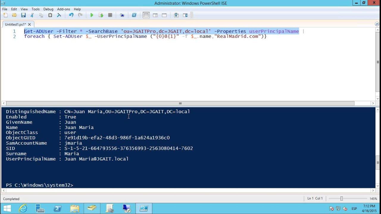 windows server 2012 r2 powershell active directory