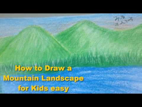 How to Draw a Mountain Landscape for Kids easy – Beautiful Places Drawing video art for tutorial
