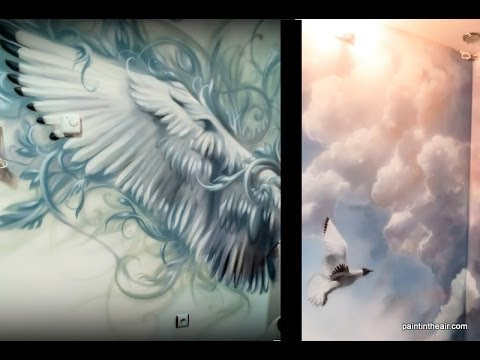 Bird wings and clouds airbrush mural speed painting for Airbrushing mural