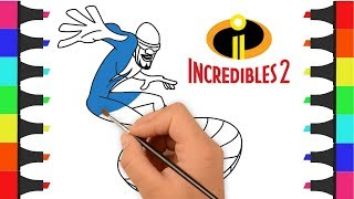Incredibles 2 Coloring Pages For Kids | Coloring Frozone from Incredibles 2 | Color Incredibles 2