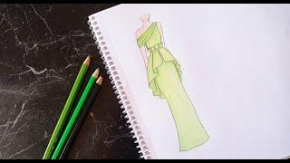 Yeşil Abiye cizimi // Çok kolay elbise çizimi