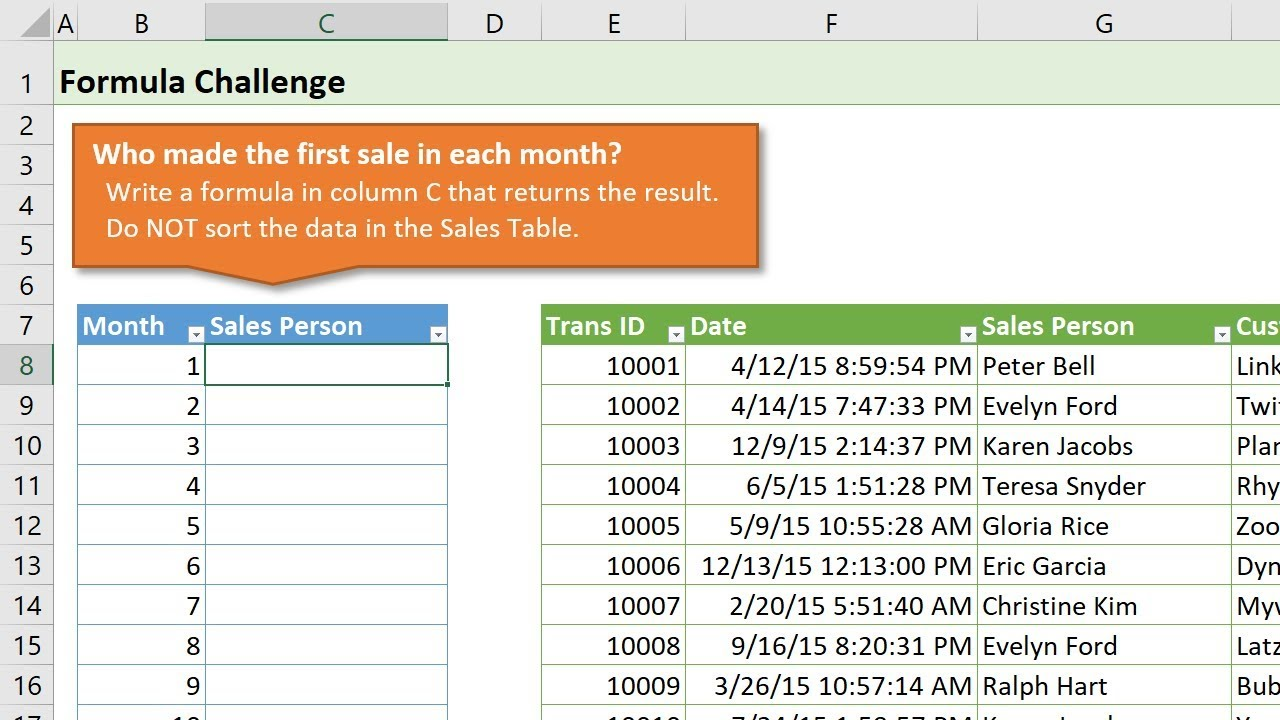 Excel Formula Challenge: Find First Transaction for Each Month