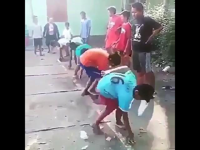 Funny running  race