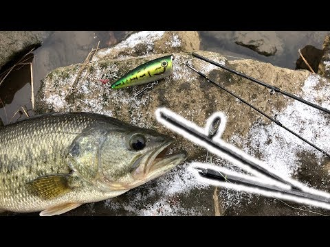 Topwater Fishing in a SNOWSTORM with a BROKEN ROD!!! (WINTER CRAZINESS)