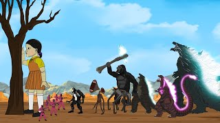 Godzilla vs KONG Destroyed SQUID GAME: Size Comparison / POWER LEVELS