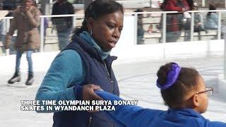 Three Time Olympian Surya Bonaly Ice Skates in Wyandanch Plaza