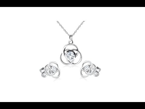 Jewelry - Earrings and necklace made of silver 925, flower contour, round petals, zircons