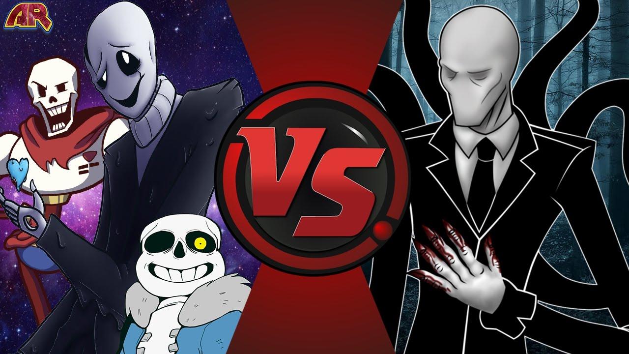 W  D  GASTER vs SLENDERMAN! (Undertale vs Creepypasta) Cartoon Fight Club  Episode 145