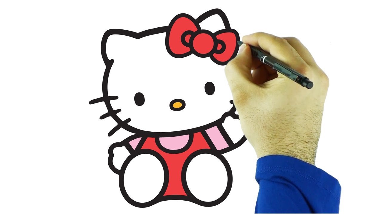 hello kitty draw and color drawing and coloring hello kitty just for kids youtube - Drawing For Children To Colour