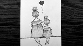 daughter mother drawing easy pencil drawings shading