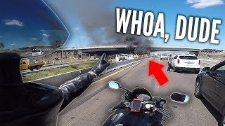 "CAR FLIPPED, BLEW UP & CAUGHT FIRE! ""ASSAULTED"" FHP OFFICER - MOTORCYCLE vs BAD DRIVERS - RPSTV"