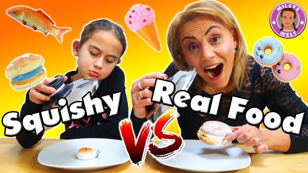 Squishy Toys Vs Real Food : REAL FOOD vs SQUISHY FOOD Challenge - Wer muss Gummi essen? Mileys Welt - YouTube