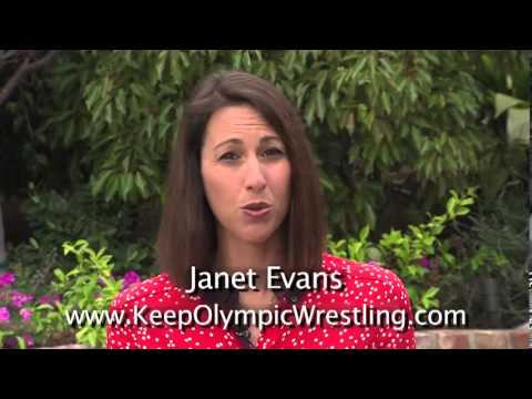 Olympic champion swimmer Janet Evans supports Olympic wrestling