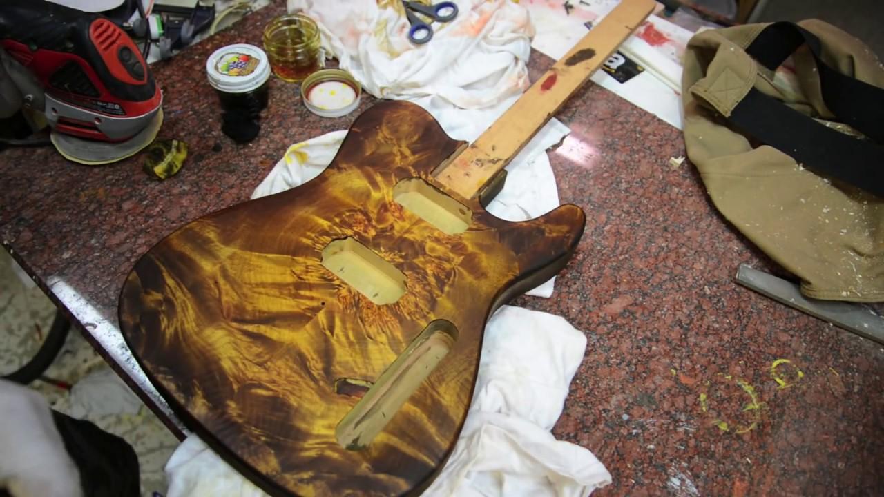 Honey Burst Guitar On A Flamed Maple Burl Tele Project