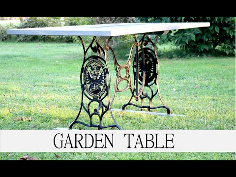 Singer cast iron stand to vintage garden table