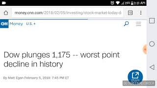 Stock Market Dow Plunges down 1,175 worst point decline in history
