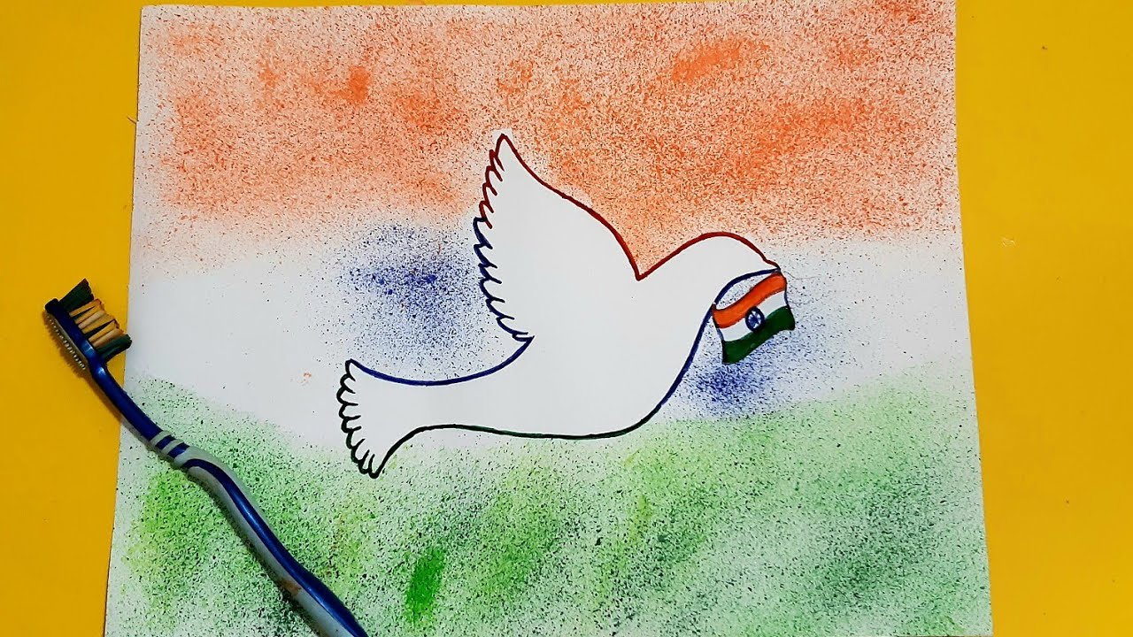 Republic Day Easy Drawing Spray Painting With Tooth Brush How To Draw Republic Day Youtube