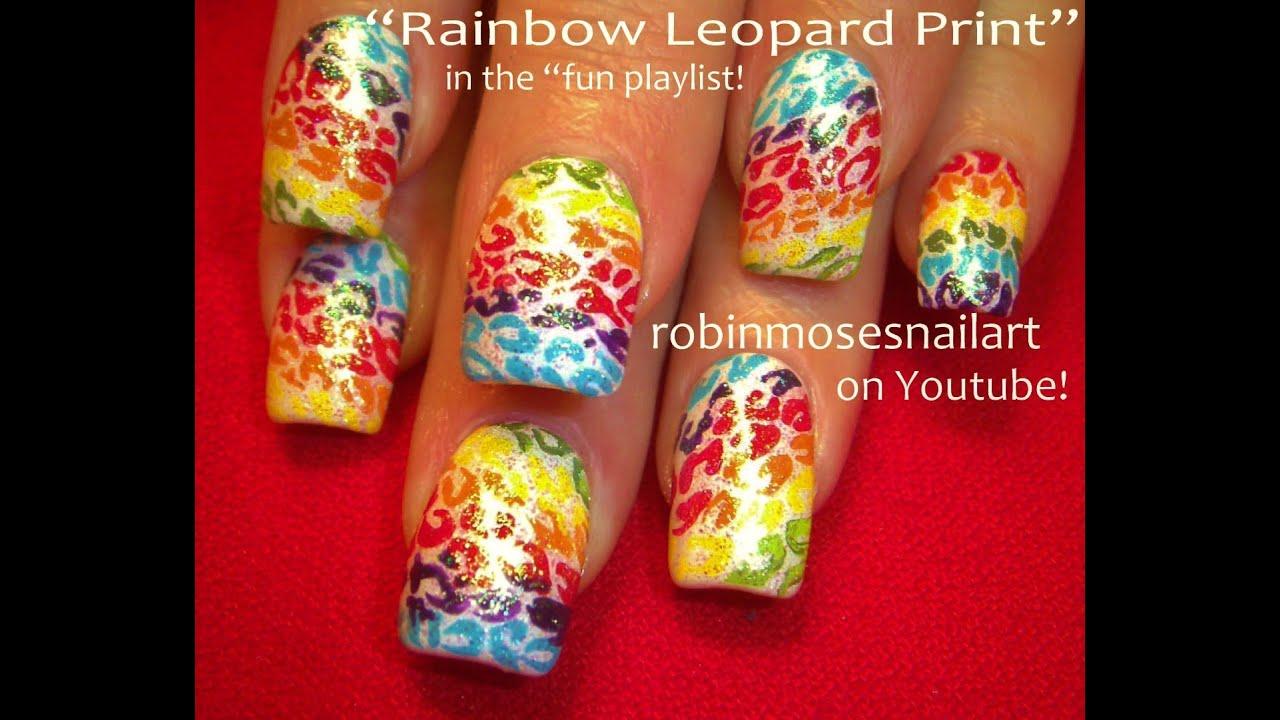 Easy Nail Art Rainbow Leopard - YouTube