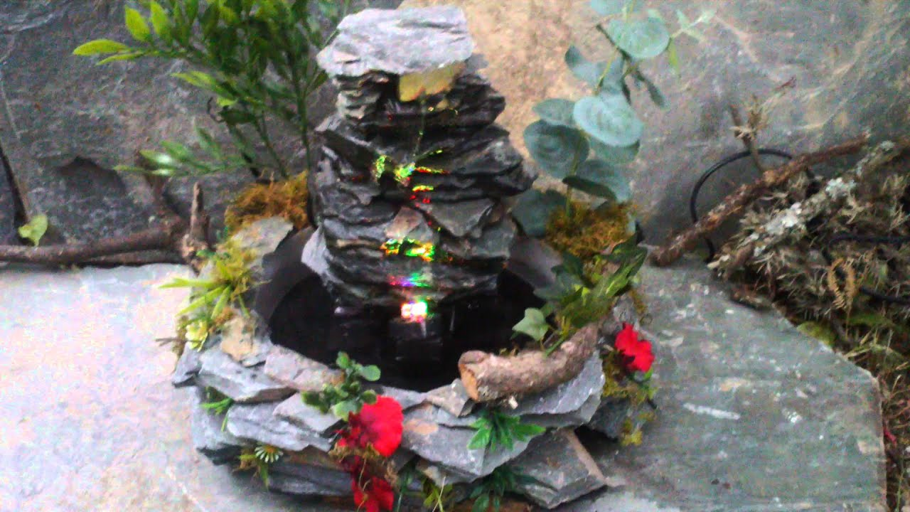Mini cascada en piedra laja ideal para exteriores youtube for Cascadas de piedra para jardin