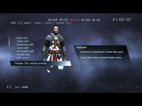 Assassin's Creed  Rogue Unlocking Templar 11th century armour + Altair's Sword + English Pistols