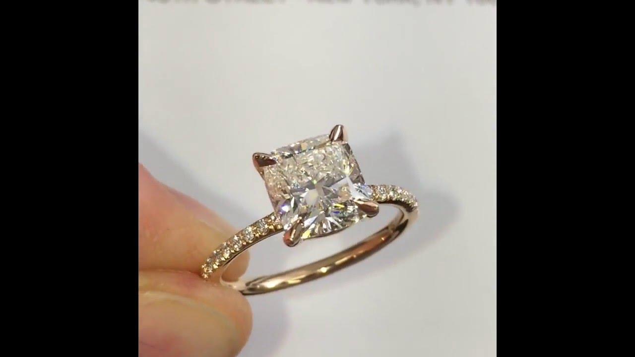 2 Carat Cushion Cut Diamond Engagement Ring In Rose Gold