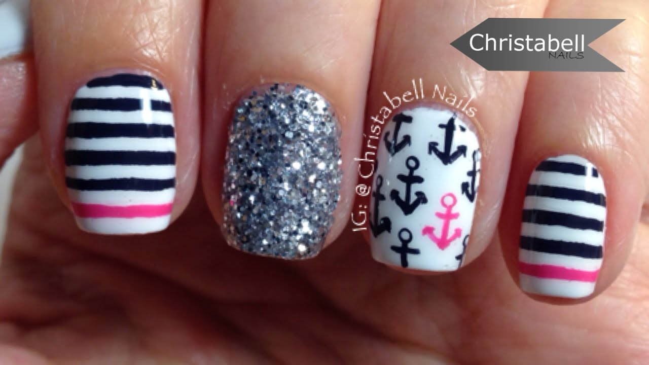 Nautical Nail Art Tutorial with Pink and Blue - YouTube